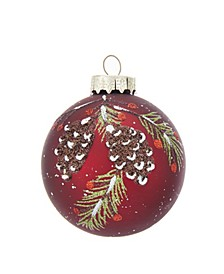 80MM Glass Red With Pinecone Design Ball Ornaments, 6 Piece Box Set