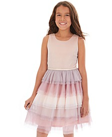 Big Girls Glitter Ombré Tiered-Tulle Dress