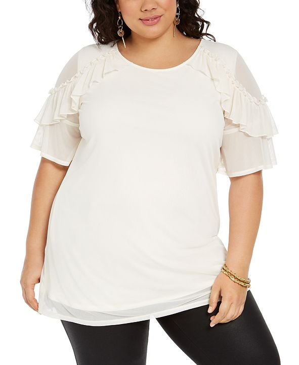 NY Collection Plus Size Ruffled-Sleeve High-Low Top