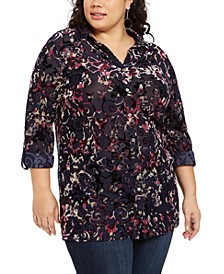 Plus Size Velvet Burnout Top