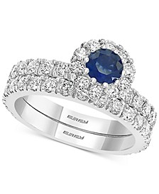 EFFY® Sapphire (1/2 ct. t.w.) & Diamond (1-1/2 ct. t.w.) Bridal Set in 14k White Gold