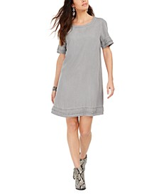 Fringed Denim T-Shirt Dress, Created For Macy's