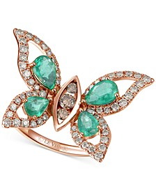 Costa Smeralda Emerald (1-5/8 ct. t.w.) & Diamond (7/8 ct. t.w.) Butterfly Ring in 14k Rose Gold