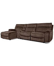 Hutchenson 4-Pc. Fabric Chaise Sectional with 1 Power Recliner, Power Headrest and Console