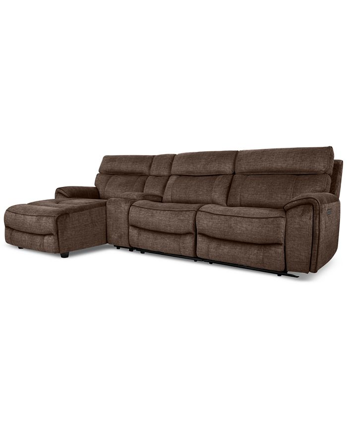 Furniture - Hutchenson 4-Pc. Fabric Chaise Sectional with 1 Power Recliner, Power Headrest and Console
