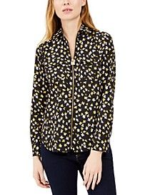 Floral-Print Zip-Front Top, Regular & Petite
