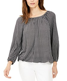 Check-Print Peasant Top, Regular & Petite