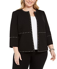Plus Size Stud-Trim Open-Front Jacket