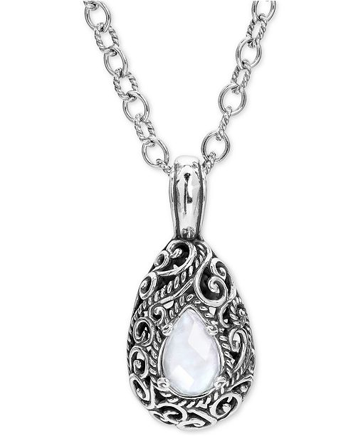 "Carolyn Pollack Mother-of-Pearl Quartz Doublet Filigree 18"" Pendant Necklace in Sterling Silver"