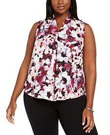 Plus Size Floral-Print V-Neck Blouse