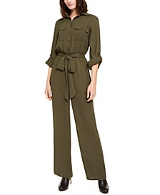 Petite Belted Utility Jumpsuit