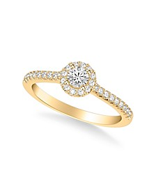 Diamond Halo Engagement Ring (1/2 ct. t.w.) in 14k Yellow, White or Rose Gold