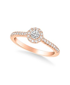 Diamond Halo Engagement Ring (1/2 ct. t.w.) in 14k Rose, Yellow or White Gold