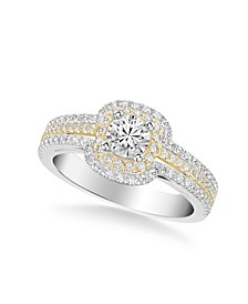 Diamond Princess Engagement Rings and Bridal Set Collection in 14k Two Tone Gold