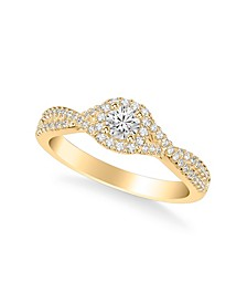Diamond Twist Engagement Ring (1/2 ct. t.w.) in 14k White, Yellow or Rose Gold