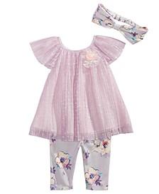 Baby Girls 3-Pc. Mesh Top, Floral-Print Leggings & Headband Set