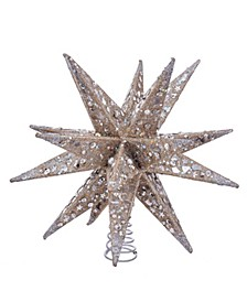 12-Inch Champagne and Silver Glitter Moravian Star Treetop
