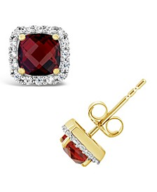 Garnet (1-1/2 ct. t.w.) and Created White Sapphire (1/5 ct. t.w.) Halo Stud Earrings in 10k Yellow Gold. Also Available in Blue Topaz (1-1/3 ct. t.w.) and Amethyst (1 ct. t.w.)