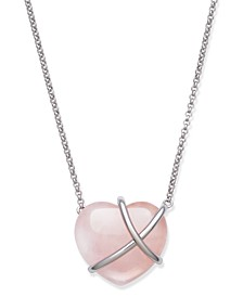 """Heart Shaped Rose Quartz 23x21mm 17.5"""" Necklace in Sterling Silver"""
