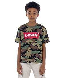 Little Boys Camouflage Batwing Logo T-Shirt