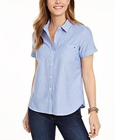 Cotton Dot-Print Camp Shirt