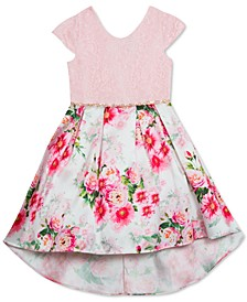 Little Girls Lace & Floral-Print High-Low Dress