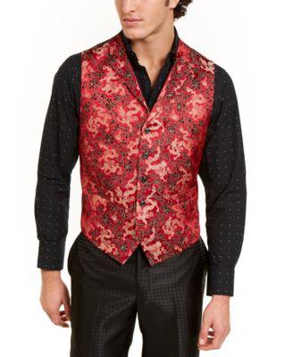 Orange Men's Slim-Fit Red/Gold Floral Dragon Vest