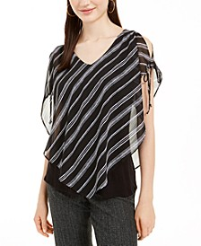 Juniors' Striped Split-Sleeve Popover Top