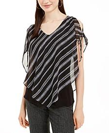 Juniors' Striped Split-Sleeve Popover Top