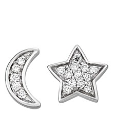 Diamond (1/5 ct. t.w.) Moon and Star Stud Earrings in 14K White Gold