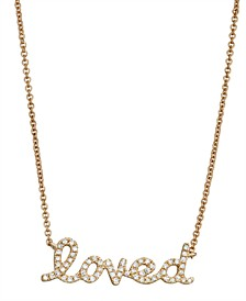 Diamond (1/6 ct. t.w.) 'loved' Necklace in 14K Yellow Gold