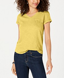 Petite V-Neck Pocket T-Shirt, Created for Macy's