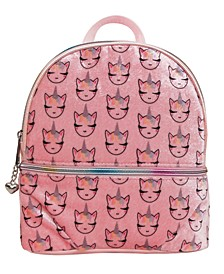 Whimsical Unicorn Printed Velvet Mini Backpack