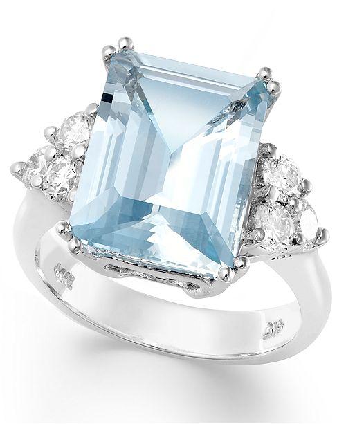Unique Macy's 14k White Gold Ring, Aquamarine (5-1/2 ct. t.w.) and  RQ09