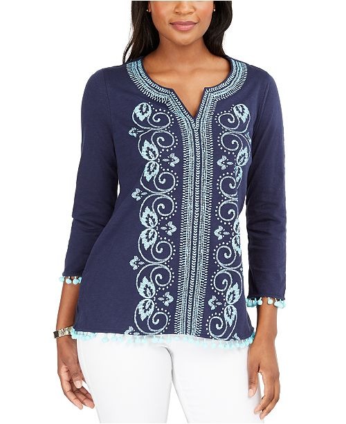 Charter Club Cotton Embroidered Split-Neck Tunic, Created For Macy's