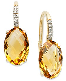 14k Gold Earrings, Citrine (6 ct. t.w.) and Diamond Accent Oval Leverback Earrings