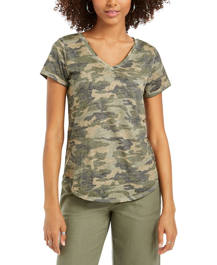Style & Co - Washed Camo-Print T-Shirt, Created for Macy's
