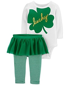Baby Girls 2-Pc. Lucky Bodysuit & Tutu Leggings Set