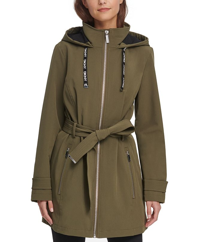 DKNY Hooded Belted Water-Resistant Raincoat, Created for Macy's
