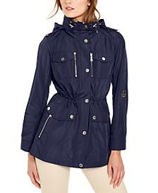 Hooded Cinch-Waist Anorak Jacket