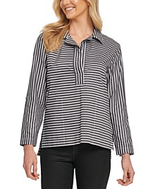 Cotton Striped Roll-Tab Top