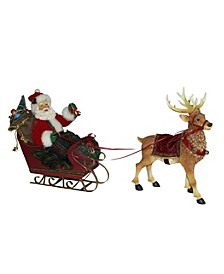 10-Inch Santa in Sleigh with Deer