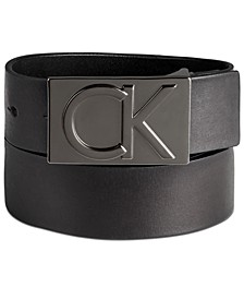 Men's Leather Logo Plaque Belt