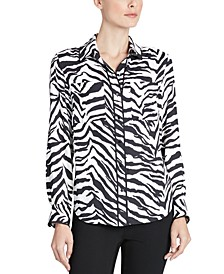Zebra-Print Piped-Trim Blouse