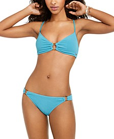 Juniors' Casual Mood Textured Bralette Top & Ring Bikini Bottoms