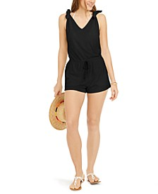 Juniors' Tie-Shoulder Drawstring Textured Terry Romper
