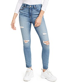 Juniors' Curvy Fit Ripped High-Rise Skinny Jeans