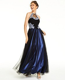 Juniors' Beaded Appliquéd Halter Gown