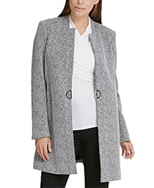 Notch-Neck D-Ring Knit Topper Jacket