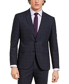 Hugo Boss Men's Classic-Fit Stretch Dark Blue Plaid Suit Jacket